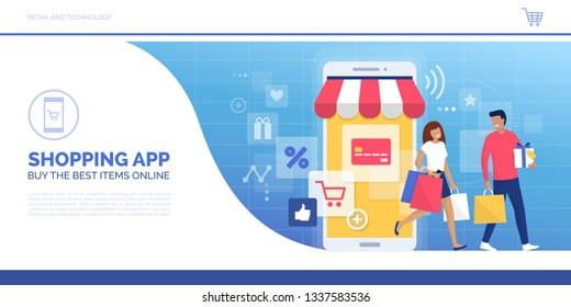 Happy couple doing online shopping together and carrying shopping bags, they used a retail app on a smartphone and purchased goods in a virtual store