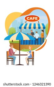 Happy Couple Drinking Beverages at Table in Street Cafe, Fast Food Bar or Restaurant with Summer Outdoor Seating Flat Vertical Vector Illustration Isolated on White Background. Leisure in City Park
