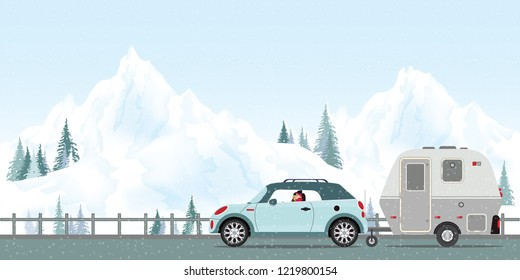 Happy couple driving car on road in winter, Family vacation travel, holiday trip in motorhome, Caravan car Vacation in winter holiday trip flat design vector illustration.