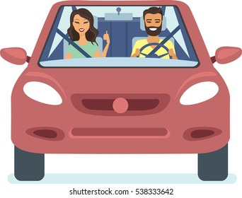 Happy couple driving the red car flat vector