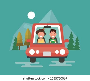 Happy couple driving in their car - Flat Design