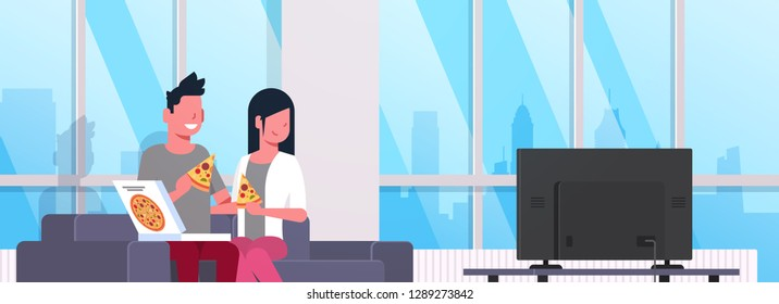 happy couple eating pizza man woman watching tv on couch modern apartment home interior male female cartoon characters portrait flat horizontal banner