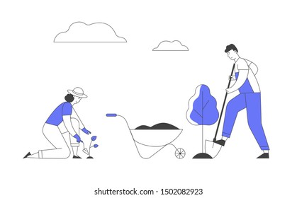 Happy Couple of Farmers Working in Garden. Man Digging Soil and Care of Tree. Woman Planting Sprout to Ground. Active Outdoors Hobby, Environment Protection. Cartoon Flat Vector Illustration, Line Art