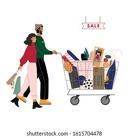Happy couple go with shopping cart full of purchases. Cute man is carrying cart, smiling woman holding bags. Sale concept. Family shopping concept flat vector illustration.