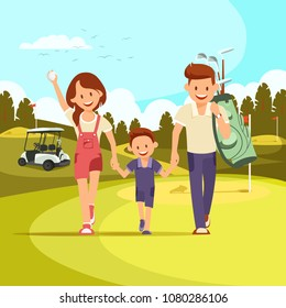 Happy Couple With Golf Clubs Leading Son to Play Golf. Golf Course. Family Holiday. Vector Illustration. Family leisure.