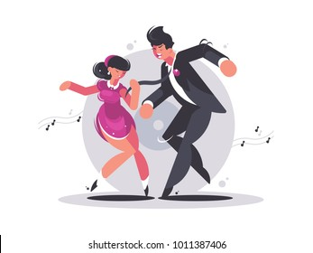 Happy couple of guy and girl dancing. Musical active dance. Vector illustration