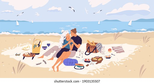 Happy couple hugging on picnic blanket at seaside. Young man and woman spending time together with wine and food at sandy beach. People resting and enjoying outdoor date. Flat vector illustration - Shutterstock ID 1903135507