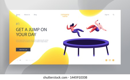 Happy Couple Jumping on Trampoline Website Landing Page, Fitness Center, Studio, Attraction, Leisure, Sports Acrobatics Training, Entertainment Dating Web Page Cartoon Flat Vector Illustration, Banner
