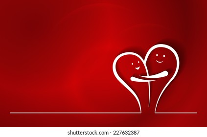 Happy Couple Line Drawing. Two abstract line characters in love, smiling and hugging, creating a heart shape. Colorful red background.