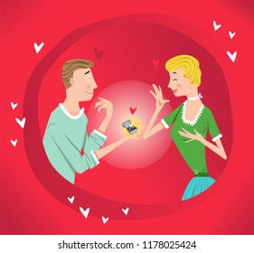 Happy couple in love with engagement ring, red background with heart decoration (vector illustration)