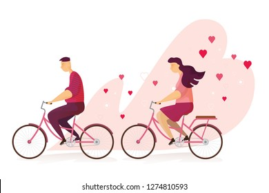 Happy couple lovely is riding a bicycle in Valentine's day festival and heart pink background. Vector illustration