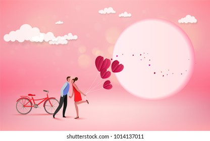 Happy couple lover kissing with heart and moon background, wedding card or engagement, engage, valentines day, happiness, vector design. Love concept.