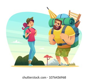 Happy couple of lovers has a journey in nature. Design of cartoon characters