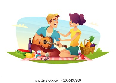 Happy couple of lovers has a picnic on nature. Design of cartoon characters