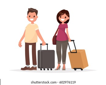 Happy couple with luggage on white background. A man and a woman with suitcases. Vector illustration in a flat style