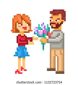 Happy Couple On A Date Pixel Art Illustration Isolated White Background 8 Bit