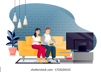 Happy couple play in video game. Young man and woman with gamepads sit on yellow sofa in loft modern room in front of TV. Vector characters illustration. Family leisure lifestyle and fun time at home