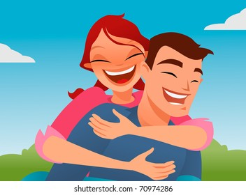 Happy couple playing piggyback on a sunny day.Vector based illustration