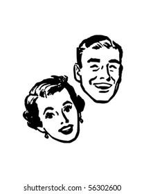 Happy Couple - Retro Clip Art