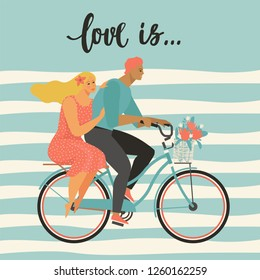 Happy couple is riding a bicycle together and happy valentine's day. Illustration vector of Love and Valentine Day.