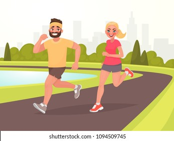 Happy couple running around in the park. Man and woman is engaged in fitness. Morning jogging. Active and healthy lifestyle. Vector illustration in cartoon style