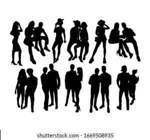 Happy Couple Silhouettes, art vector design