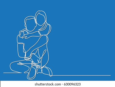 happy couple sitting embracing - continuous line drawing