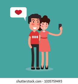 Happy couple take selfie