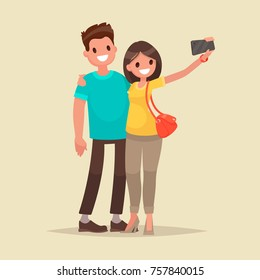 Happy couple are take selfie. Man and woman are photographed together. Vector illustration in a flat style