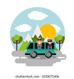 happy couple travelers vacation in car van mountains landscape scene