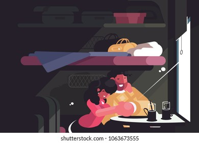 Happy couple traveling in train compartment. Hugging man and woman. Vector illustration
