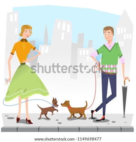 Happy couple walking dogs on sidewalk, city silhouette in background (vector illustration)