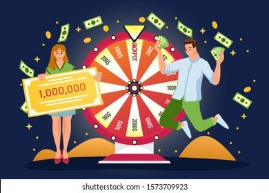 Happy couple win jackpot in lottery. Vector flat cartoon illustration. Lucky man and woman have won money prize in fortune wheel. Casino or gambling games concept