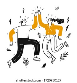 Happy couples dancing on bright days, Hand drawn Vector Illustration in sketch doodle style.