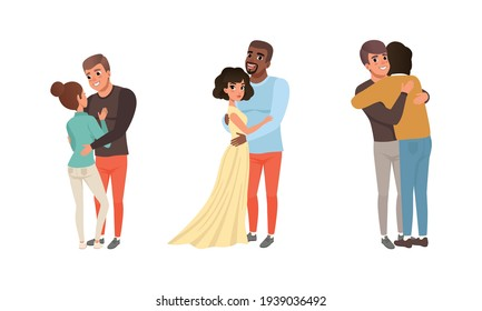 Happy Couples Hugging Set, Romantic Partners Embracing with Smiling Faces Cartoon Vector Illustration