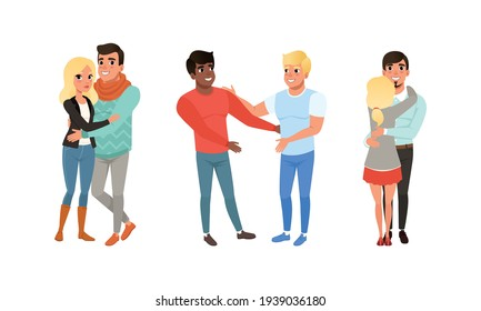 Happy Couples Hugging Set, Smiling Romantic Partners or Friends Embracing Cartoon Vector Illustration