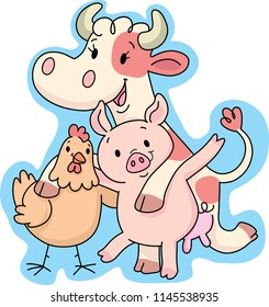 happy cow, chicken and pig
