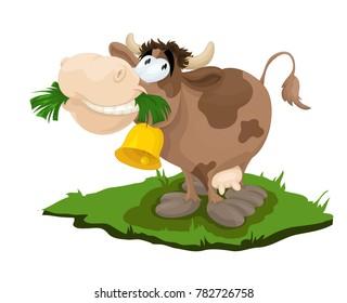 Happy cow eats grass