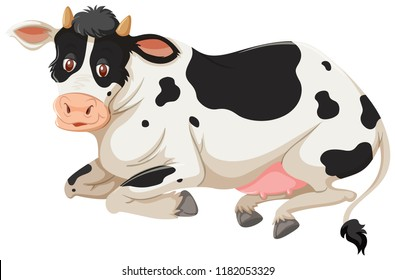 Happy cow laying down  illustration