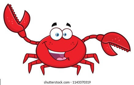 Happy Crab Cartoon Mascot Character Waving For Greeting. Vector Illustration Isolated On White Background