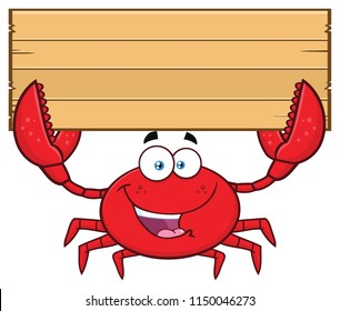 Happy Crab Cartoon Mascot Character Holding Wooden Blank Sign. Vector Illustration Isolated On White Background