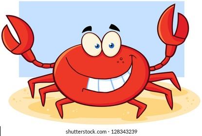 Happy Crab Cartoon Mascot Character