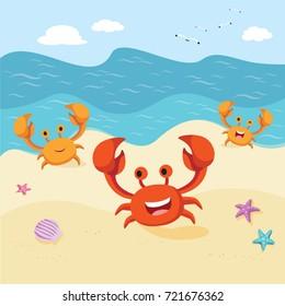 Happy crabs at the seashore