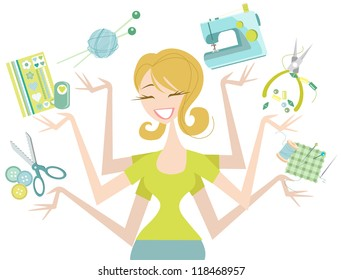 Happy Crafter aÂ?Â? Female with many Craft Icons Cute and fun illustration featuring knitting, scrapbooking, sewing, jewellery making