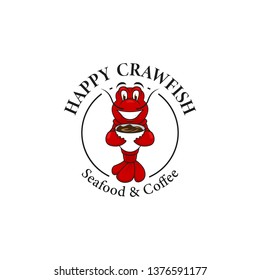 Happy crawfish with coffee logo mascot, red crawfish lobster illustration smiles and holds cup
