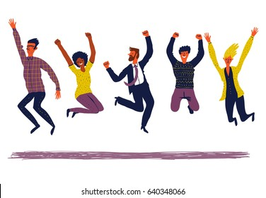 Happy creative  group of people jumping. The concept of healthy and active  lifestyle, success, friendship, youth. Illustration of successful team. Vector creative illustration on white background.