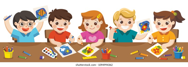 Happy creative kids playing, painting,sketching in art class. Back to school. Education and Enjoyment Concept.