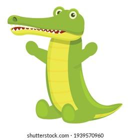 Happy crocodile icon. Cartoon of Happy crocodile vector icon for web design isolated on white background