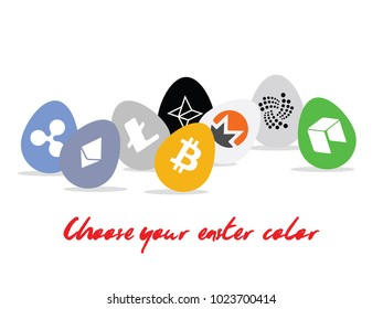 Happy crypto easter eggs. Cryptocurrency symbol on egg. Buying or selling specific one wish. Color, paint. Blockchain technology.