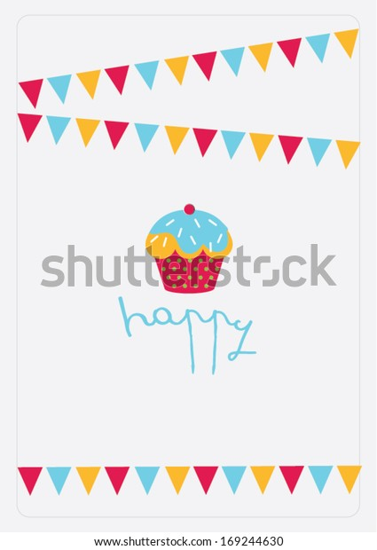 Happy Cupcake Poster Template Vectorillustration Layout